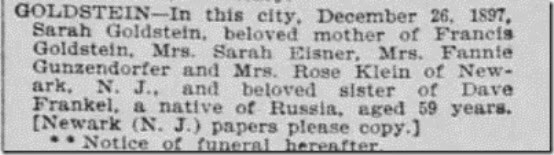 Sarah Frankel Goldstein Obit SF Call 27 Dec 1897 First Edition