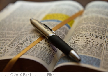 'Open Bible with pen' photo (c) 2010, Ryk Neethling - license: http://creativecommons.org/licenses/by/2.0/