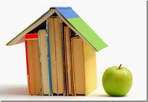 Book house and apple