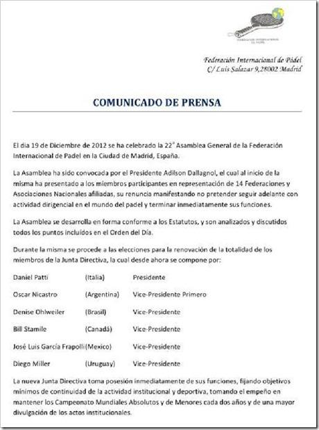Nueva Junta Directiva FIP 2012