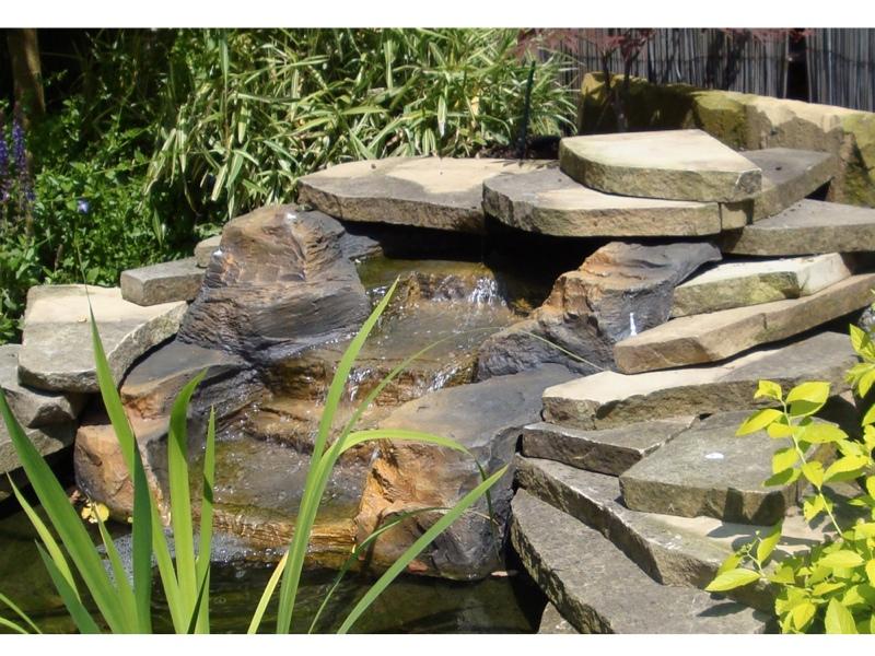 Fiberglass waterfall feature rock effect garden or pond ebay for Fiberglass garden ponds