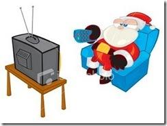 Papai Noel sentado em uma poltrona, segurando um controle remoto, em frente a uma televisão