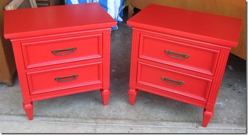 Mr and Mrs Frugal - red nightstands