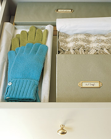 Organize your personal gloves and scarves in drawers or storeage boxes so they are out of the way when guests arrive, that way your belongings won't get mixed in with theirs.