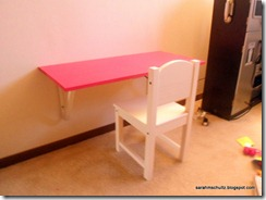 Pink Desk mounted to wall