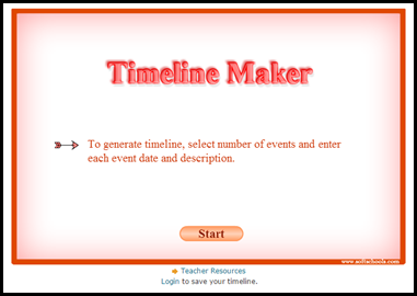 Timeline Maker – Generate a timeline with up to twelve events by simply inserting dates and descriptions in chronological order.  This timeline can then be printed and used in class.