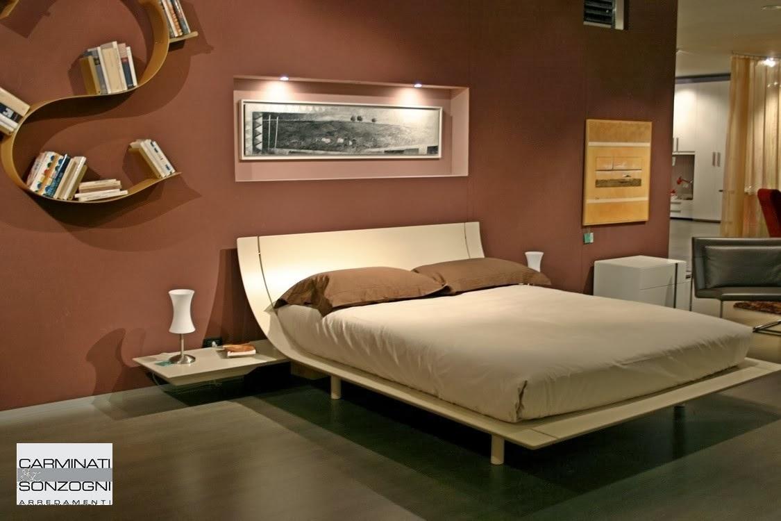 Letto aqua presotto laccato corda con comodini a mensola con cassetto estraibile nella nostra - Camere da letto con letto rotondo ...