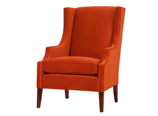 jason home and garden colin chair velvet orange wing back chair