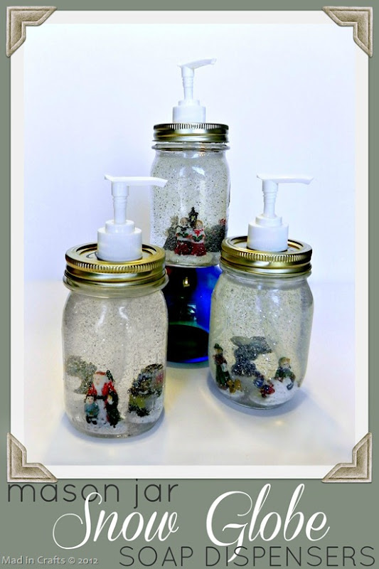 mason jar snow globe soap dispensers