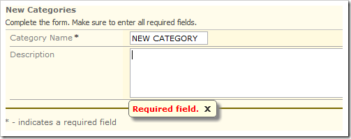 Error message displayed if the Description field is blank due to the validation rule.