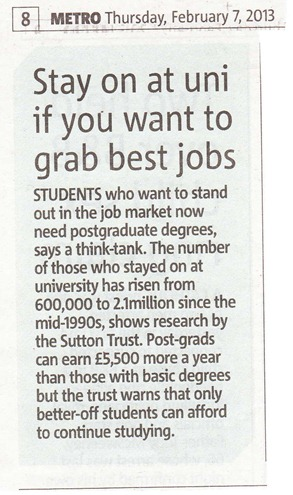 Postgraduate Article - Metro 070213