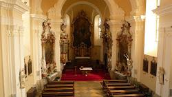 Zařízení kostela pochází z doby dokončení stavby. Podíleli se na něm sochař Václav Böhm a malíři Jan Leopold Daisinger a František Vavřinec Korompay. Hlavní oltář na volně stojící menze rokokový, skříňový tabernákl s adorujícími anděly, v pozadí v bohatě vyřezávaném rámu zavěšeném na zdi je obraz Oslava sv. Linharta. V koutech lodi dvojice protějškových oltářů P. Marie Růžencové s hlavním obrazem P. Marie se sv. Dominikem, Kateřinou Sienskou a s medailony znázorňující patnáct tajemství sv. Růžence; v predele kasulový obraz od F.V.Korompaye Vyučování P. Marie se sv. Annou a Zachariášem.
