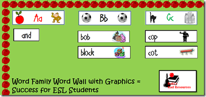 Bulletin boards should be educational, not decoration.  Stop by Raki's Rad Resources for ideas on how to make your bulletin boards more educational.  Word Family word wall, with graphics to help out ESL students.