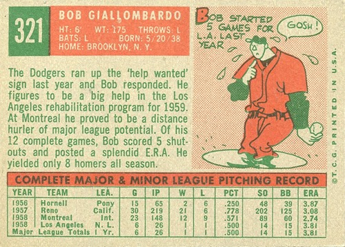 1959 Topps 321 bob giallombardo no option statement back