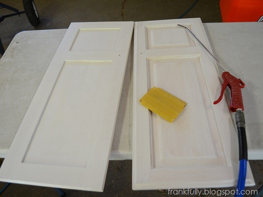 Sandpaper and blow gun to clean the doors