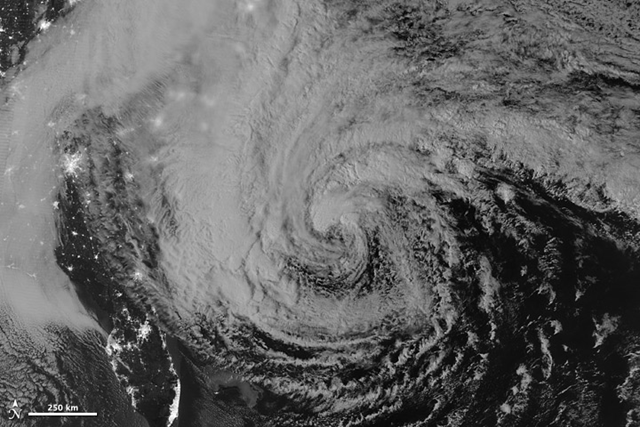 This image of Hurricane Sandy was acquired by the Visible Infrared Imaging Radiometer Suite (VIIRS) on the Suomi NPP satellite at 2:42 a.m. Eastern Daylight Time (06:42 Universal Time) on 28 October 2012. NASA Earth Observatory image by Jesse Allen and Robert Simmon