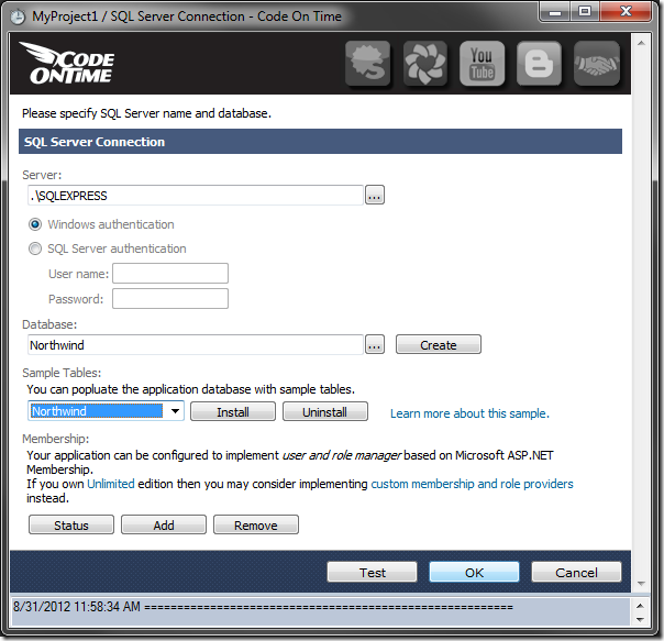 Configuration of the database connection string has been finished in a Code On Time web application.