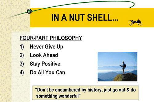 Success Mantras: Never give up, Look ahead, Stay positive and Do all you can