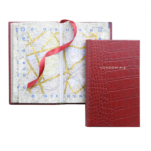 A leather-bound street guide that will help get you around London. (smythson.com)