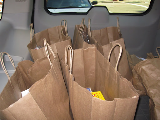 All of the bags of candy in the back of the car.