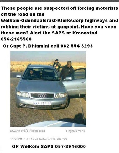 WELKOM white male and white couple forced off road attacked robbed July 15 July 17