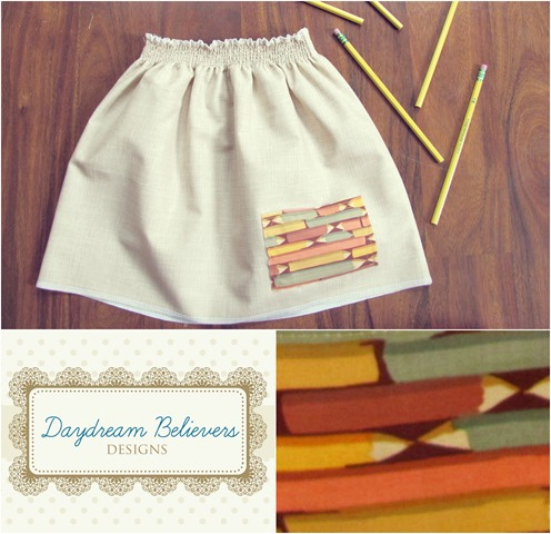 handmade back to school pencils skirt for girls by daydream believers designs