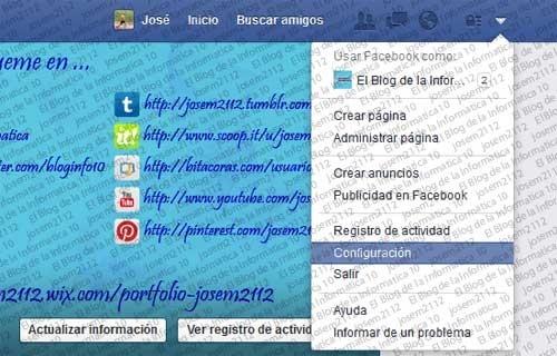 Reproducción automática de vídeos en Facebook - opción configuración cuenta facebook