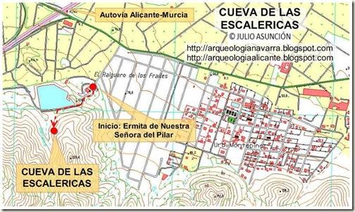 Mapa ruta cueva de las Escalericas - Orihuela