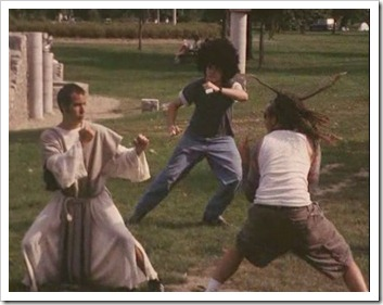 Jesus battles the evil forces of LMFAO.