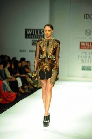 GOLD_AND_BLACK_SPORTMESH_DRESS  Alpana Neeraj
