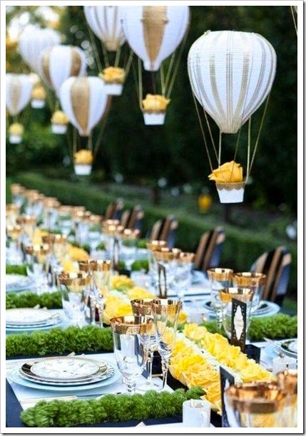 Hanging Mini hot air balloon wedding reception centerpiece. So unique