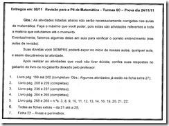Prova de Mat 4 - Exercícios e págs