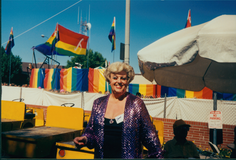 Drag queen at a gay pride event. 1990.
