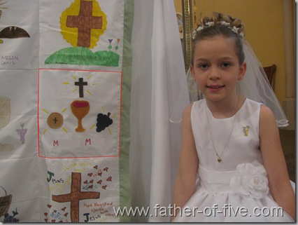 #5 of 5's First Communion Quilt Square