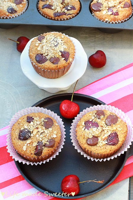 Cherry Banana Muffins with Dark Chocolate Chips {Healthy and GF} by Life Made Sweeter 10.JPG