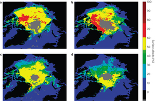 Examples of land-masked CLARA-A1-SAL August monthly mean albedo products. a–d, The mean land-masked surface albedo of the Arctic from 1985 (a), 1997 (b), 1999 (c) and 2008 (d). Years were selected to illustrate some of the maxima (1985 and 1997) and minima (1999 and 2008) of Arctic sea-ice albedo. Graphic: Riihelä, et al., 2013