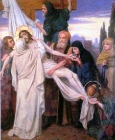 José de Arimatéia, um membro do Conselho, que não concordara com a condenação de Jesus.Dispunha de um sepulcro. Ele pediu a Pilatos o corpo de Jesus. E, descendo-o, envolveu-o num lençol e colocou-o numa tumba talhada na pedra.