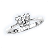 Round Diamond Butterfly Ring in 10k White Gold