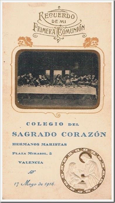 1916 Colegio Hermanos Maristas. Comuniones. 1916