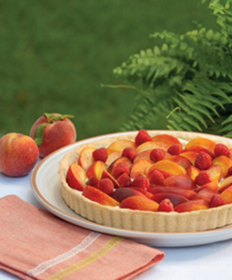 peach and goat cheese tart