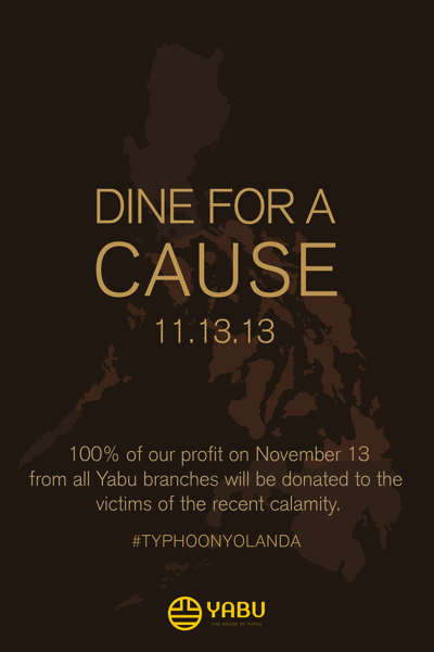 Yabu Dine for a Cause for Typhoon Yolanda