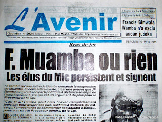 La une du journal L&#039;avenir, ce 20/04/2011  Kinshasa. Radio Photo/Ph.
