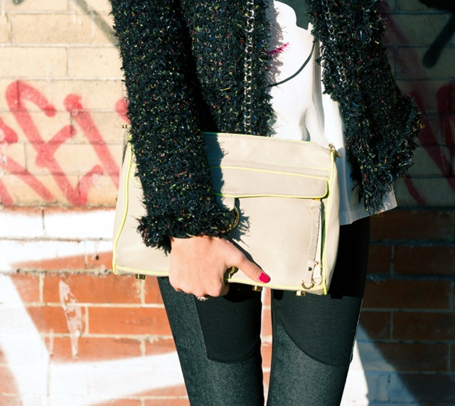 street style fashion blogger misspouty blog multicolor tweed jacket denim leggings lace booties rebecca minkoff clutch3
