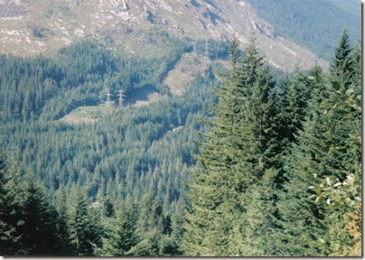 View of BNSF Freight Train from near Milepost 1715 on the Iron Goat Trail in 1998