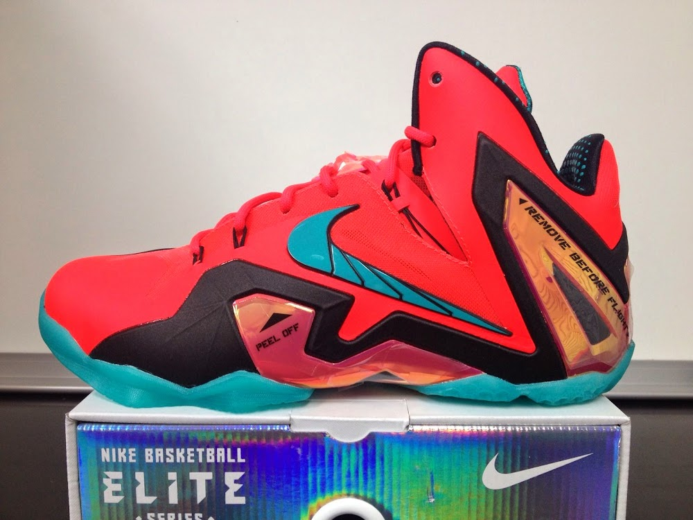 new concept 7ce58 30d07 642846-600 Laser Crimson Turbo Green-Black. Release Reminder Nike LeBron 11  Elite Hero 275 ...