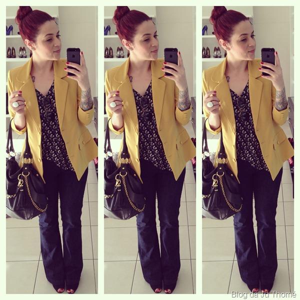 look jeans flare, blazer mostarda e bolsa preta (1)