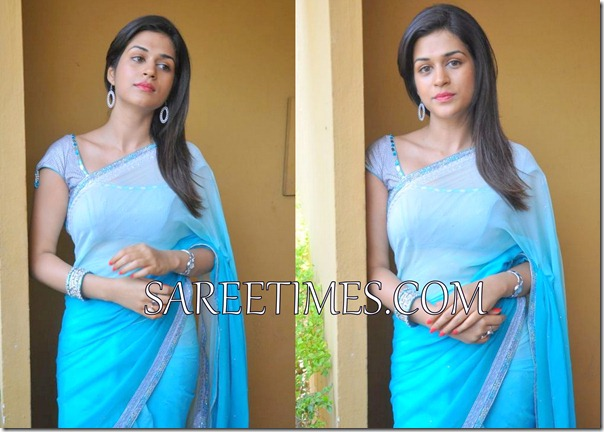 Shraddha_Das_Blue_Saree