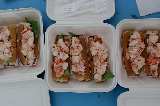 Lobster rolls from Down East Lobster Company in Trenton, Maine. I could eat one right now.