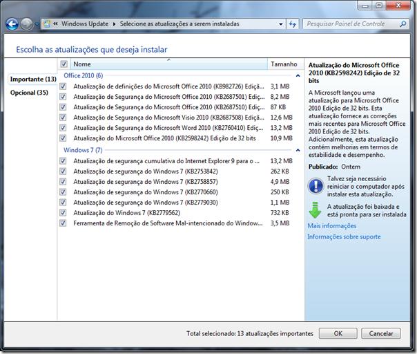 Atualizações do Windows 7 - 11/12/2012