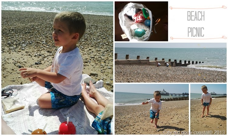 collage of a picnic at the beach